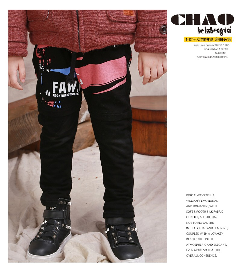 Fashionable Doodles Printed Baby Boys Black Trousers Jeans Thickening False Two-piece Boys Winter Pants With Elastic