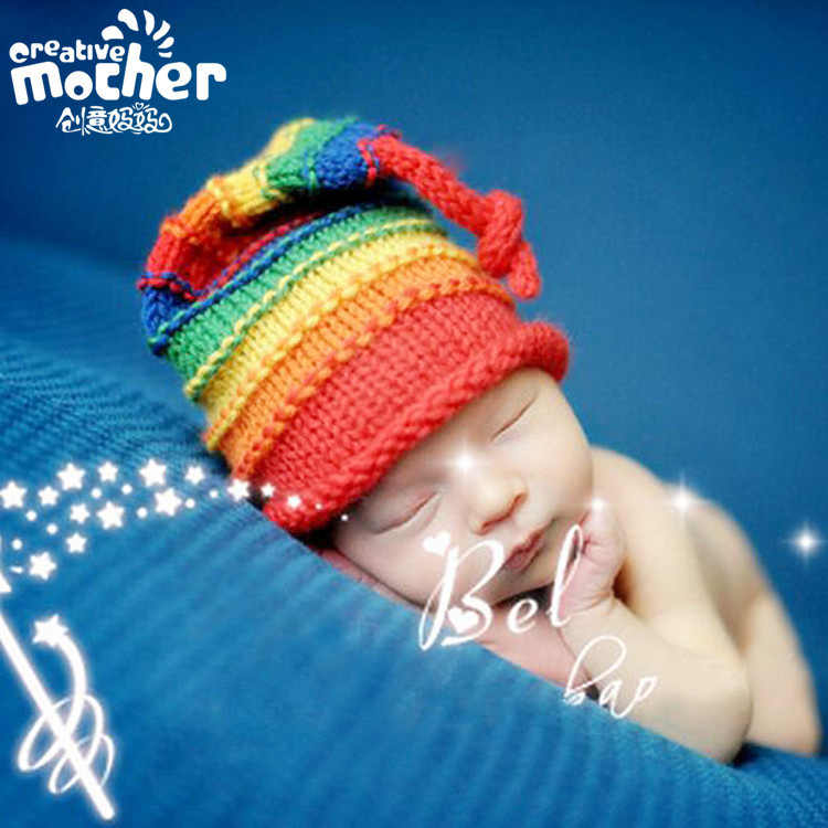2016 Promotion Fotografia Direct Selling The European And American Children Photography Hat Hand-woven Long Tail Cap In Infants(China (Mainland))