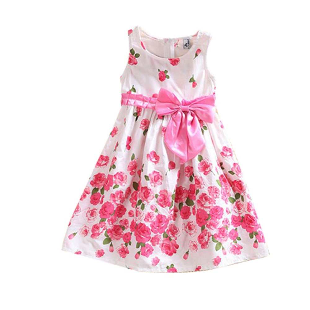 Children One Piece Dress Sleeveless Dresses Princess Floral Bowknot Party Dress Sundress 2-6 Y(China (Mainland))