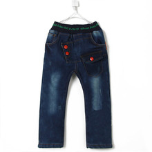 2015 autumn and winter letter boys clothing baby child thickening long trousers jeans A1227(China (Mainland))