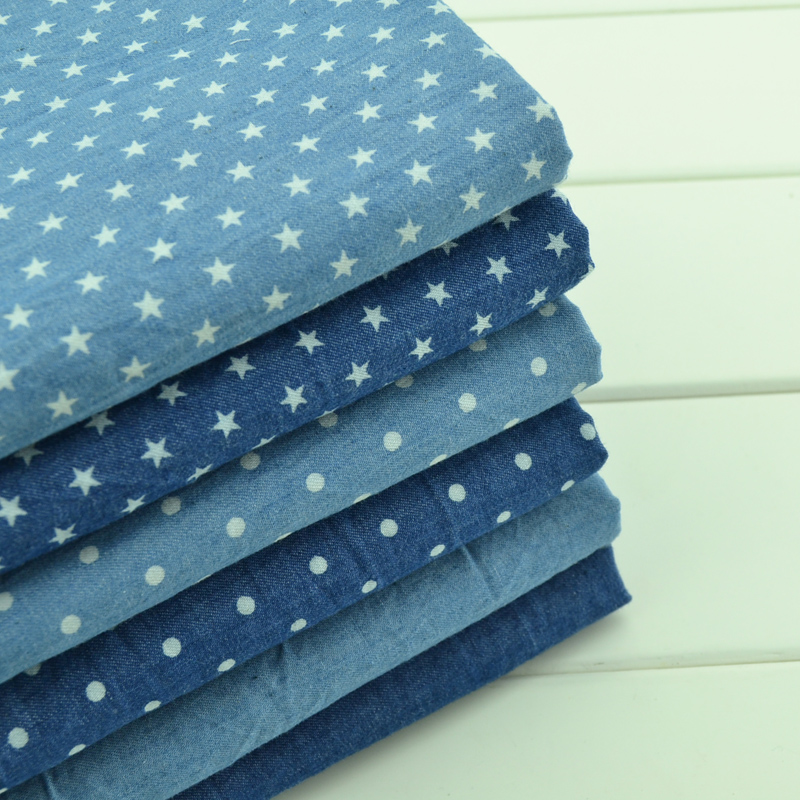 150cm width Thin summer clothing making cotton denim blue jeans fabric DIY sewing fabric by half meter(China (Mainland))