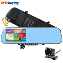 "5"" Android Car DVR Rearview mirror GPS monitor reversing camera Dual Lens Radar Recorder with rearview camera Video navigator(China (Mainland))"