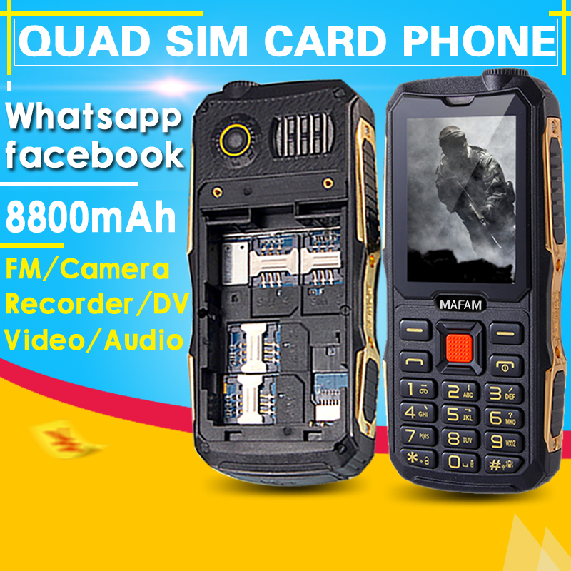 2016 Quad sim cards mobile phone whatsapp FM DV real 2800mAh big sound P168(China (Mainland))