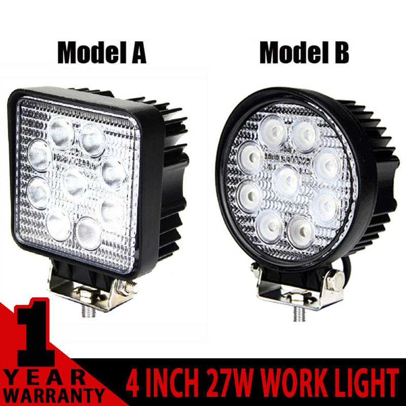 4INCH 27W ROUND/SQUARE LED WORK LIGHT 12V 24V SPOT BEAM FOR 4x4 OFFROAD ATV TRUCK TRACTOR MOTORCYCLE DRIVING FOG LIGHTS 18W - Brilliant Offroad Lighting store