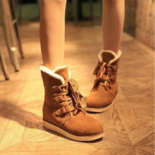Buy New Fashion Women Flock Snow Boots Botas Femininas Ankle Boots Women Winter Boots Zapatos Mujer Solid Winter Shoes S-6091201 for $19.20 in AliExpress store