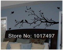 Free Shipping Large size 147cmx71cm Vinyl Tree Branch with 10 birds Wall Decal Removable Wall Sticker Home Decor Art Mural,T3003(China (Mainland))