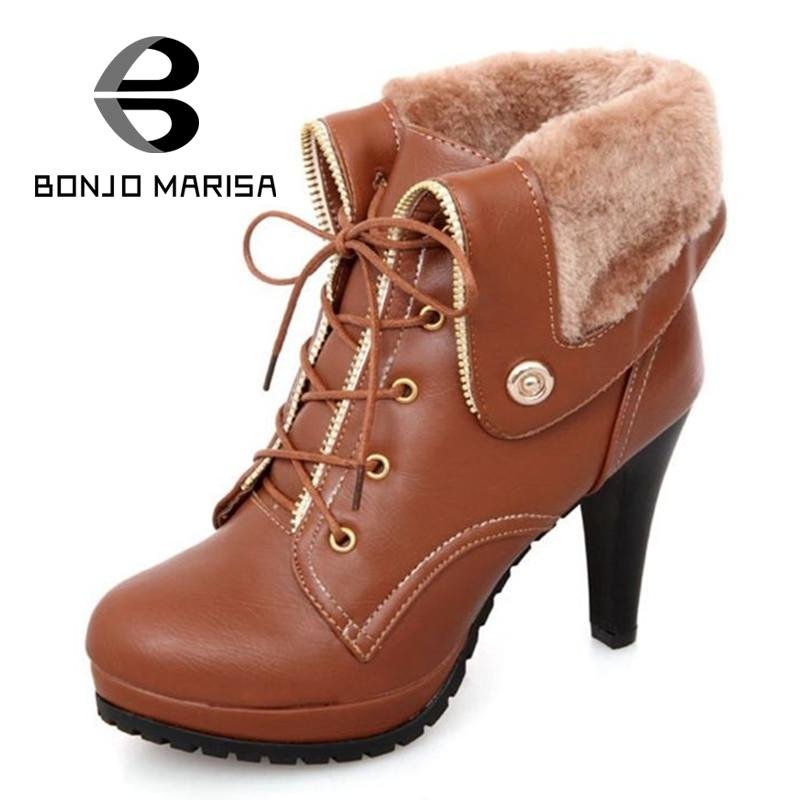 Women Autumn Winter Ankle Boots Sexy Ladies Lace-up High Heels Boots Elegant Woman Black Yellow Apricot Round toe Shoes(China (Mainland))