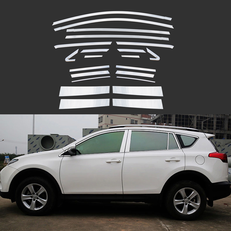 22 Pcs/Set Stainless Steel Full Window With Middle Pillar Decoration Trim Car Accessories For Toyota RAV4 2013 2014 2015(China (Mainland))