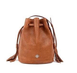 Fringed edge grain sheepskin mini bucket bag shoulder diagonal package