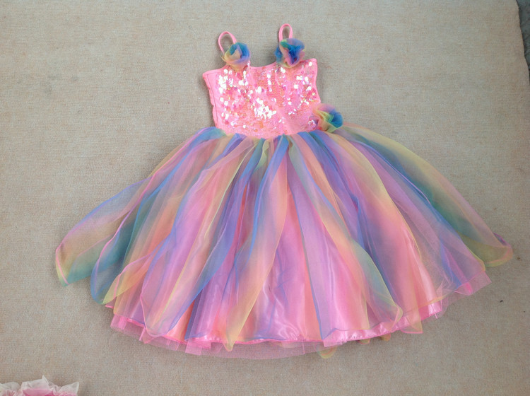 6ps/lot 5-7 girls original brand dress ball gown for party with bling bling sequins,summer school girls,halloween clothing<br><br>Aliexpress