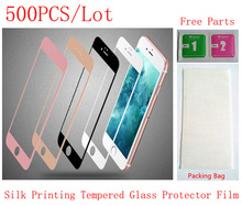 (6G47118500DHL)(500PCS/Lot by DHL)Color Silk Printing Front Tempered Glass Protector Protective Film for iPhone 6&6S(4.7) Screen