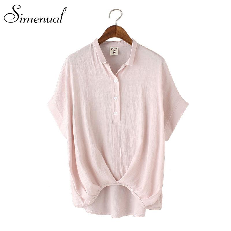 Big size blouses and shirts woman 2016 high fashion slim solid irregular female shirt tops ladies short sleeve top blouse sale(China (Mainland))