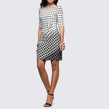 New Tartan Women Elegant Summer Sale The Neck Tunic Dress To Work Business Casual Party Sheath Pencil Dress 2184