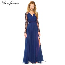 Nice-forever Sexy Blue Summer Elegant V Neck Long Lace Sleeve Fitted dress Women Fashion Slimming Chiffon Split Maxi Dress A001(China (Mainland))