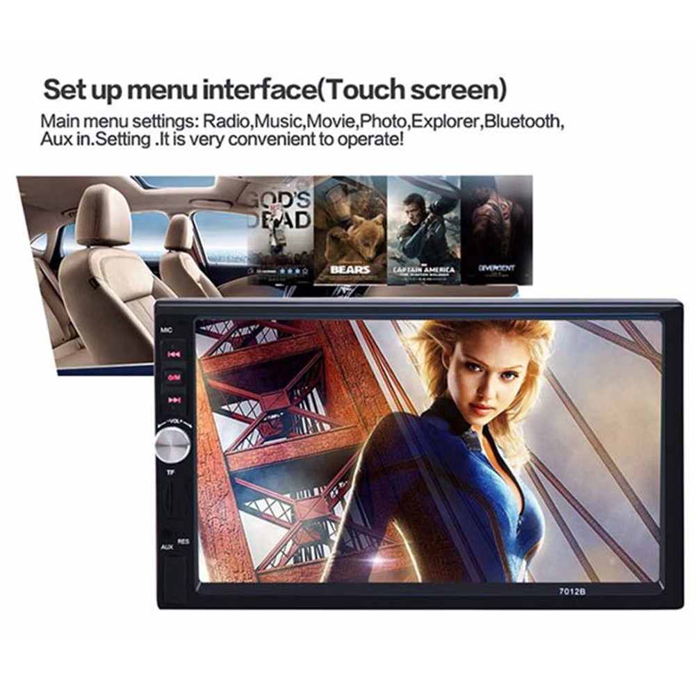Фотография 7012B 7 Inch Bluetooth TFT Screen Car Audio Stereo MP5 Player 12V Auto 2-Din Support AUX FM USB SD MMC  Support for JPEG,WMA,MP4