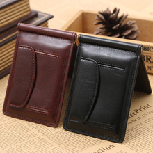 Top Quality Leather money clip wallet with coin pocket leather clamp for money crad holder leather purse simple style black(China (Mainland))