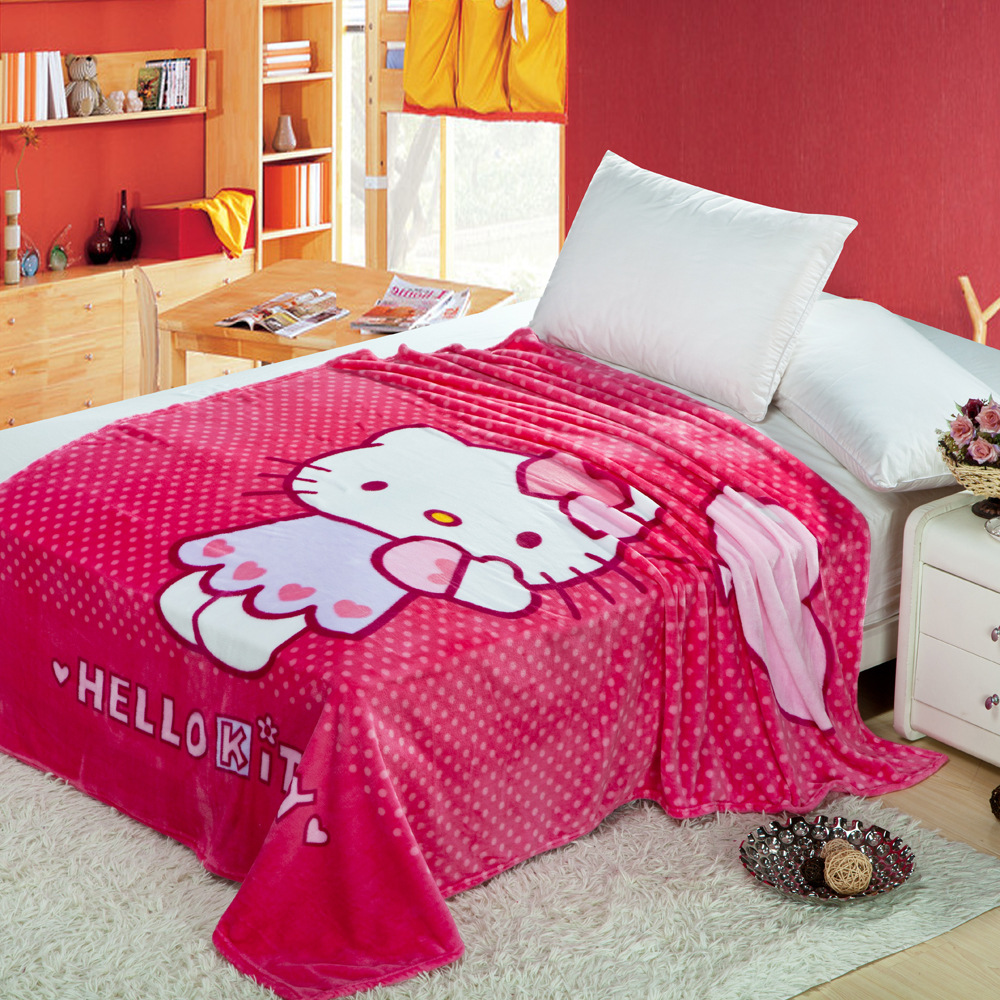 Home Textile 70x100cm Hello Kitty Blanket Cartoon Super Soft Flannel Blankets for Kids on Bed/sofa/Travel/Hotel/Airplane Blanket(China (Mainland))