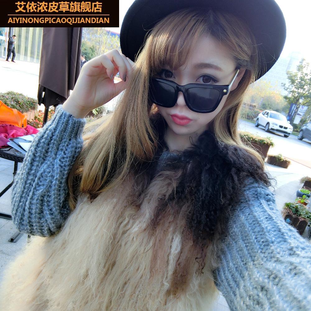 Lady fur vest short Wool Vest Jacket warm in winter fox women long vest the whole skin whole