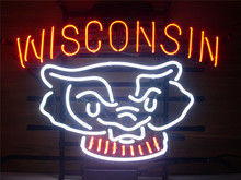 "NEON SIGN  WISCONSIN BADGERS   Signboard REAL GLASS BEER BAR PUB  display  outdoor Light Signs 17*14""(China (Mainland))"