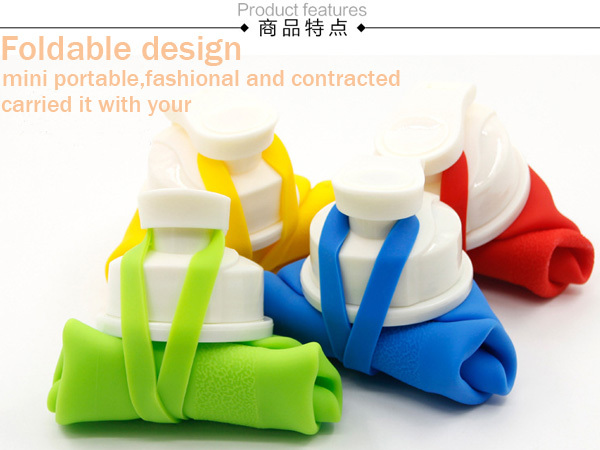 2015 FDA grade BPA Free portable 500ml plastic squeeze candy silicone rubber foldable water bottle sport drinking bottle(China (Mainland))