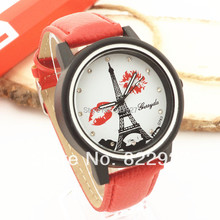 Gerryda 763 lady's quartz watches,eiffel tower and kissing mouse design dial,Pu leather band,black plate case, quartz movement