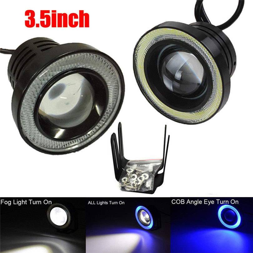 Classic Car Light Bulbs: 3.5Inch Car Fog Light COB LED Projector Halo Ring DRL Driving Bulbs Hot Classic  Car,Lighting