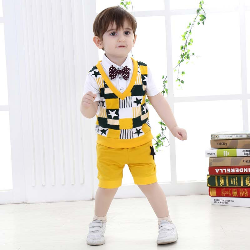 2015 New Boys Summer Clothing Sets ( Boys T shirt + Shorts ) Cotton Yellow Plaid College Style Fashion Bow Tie Baby Boy Clothes<br><br>Aliexpress