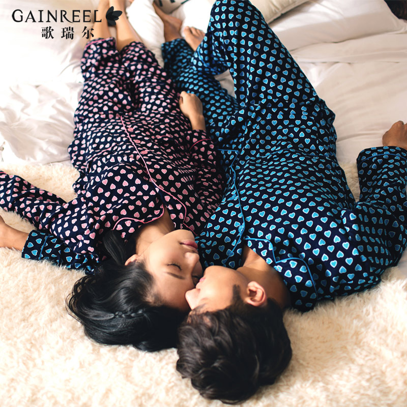 Spring song Riel fashion heart shaped male Ms pajamas cotton long sleeved tracksuit comfort lovers full
