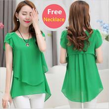 2016 Summer Plus size women chiffon blouses shirts o neck short sleeve double irregular solid fashion casual ladies tops Blusas(China (Mainland))