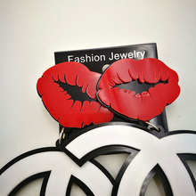 Fashion Hiphop Sexy Red Lips Mouth Acrylic Letters Drop Earrings Nightclub Stage Show Hipster long earrings For women Jewelry(China (Mainland))