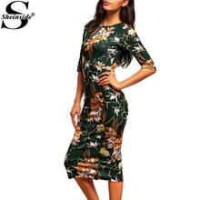 Sheinside Elegant Dresses Vintage Clothing Green Three Quarter Length Sleeve Round Neck Floral Sheath Dress(China (Mainland))