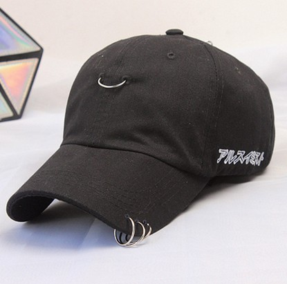 2016 Gd Safety Pin Hiphop Men Cotton Cap Summer Ring Black Baseball Cap Sport Outside Curved Hats White Black 2 Color Visors(China (Mainland))