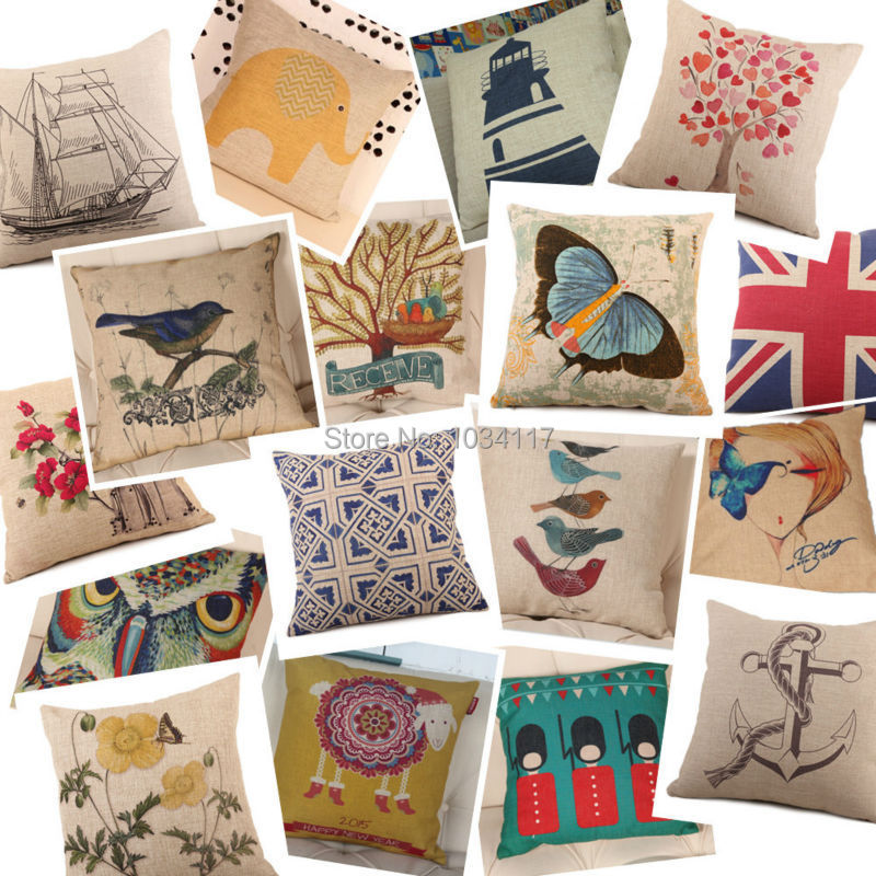 Wholesale New Listing high-grade cotton linen cushion cover,simple stylish thick printed sofa pillow cover,pillowcase seat cover(China (Mainland))