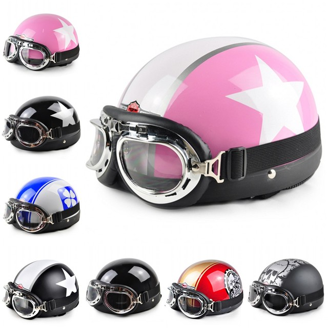 2015 New Motorcycle & Motorcycle Open Face Half Racing Helmet & Goggles & Visor fit 54-60cm A1-A20