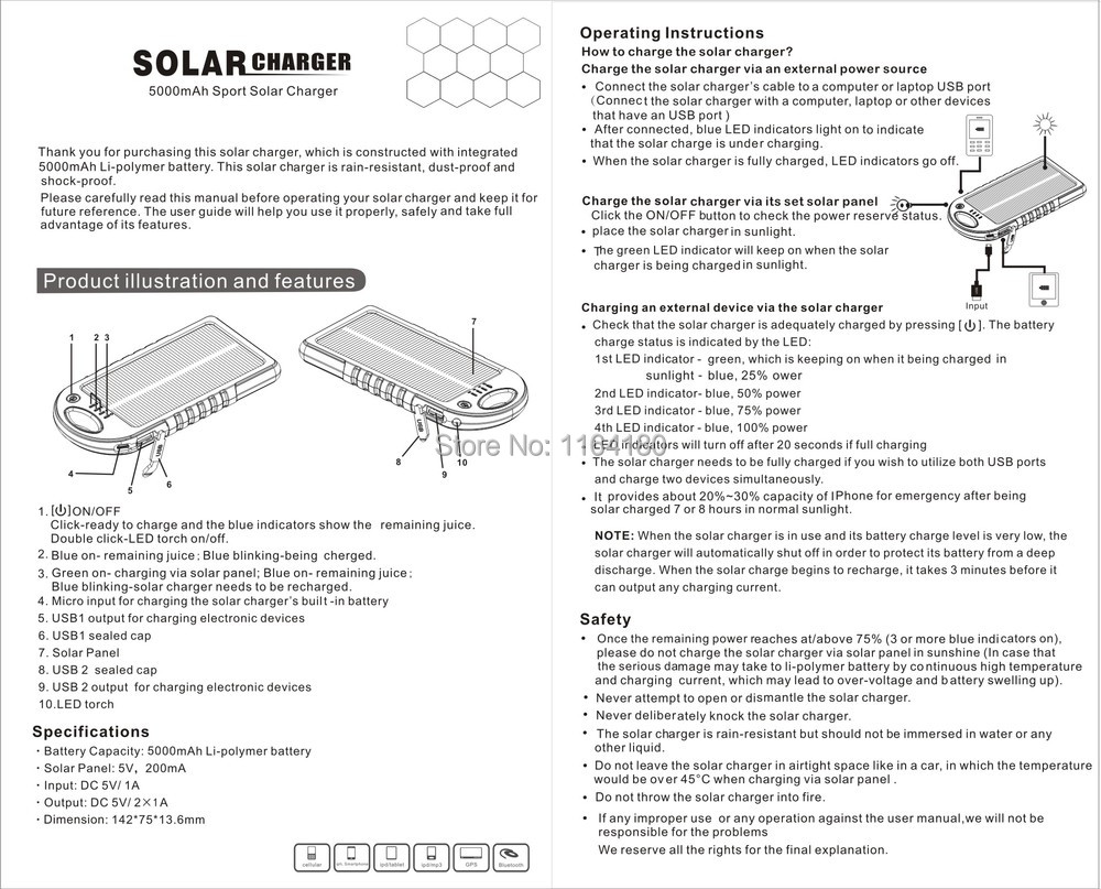 Solar charger yd-t011 инструкция на русском