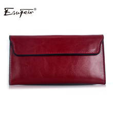 ESUFEIR 2017 Genuine Leather Women Wallet Long Purse Vintage Solid Cowhide multiple Cards Holder Clutch Fashion Standard Wallet(China (Mainland))