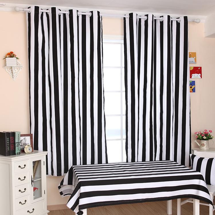 Compra cortinas de rayas negro blanco online al por mayor for Cortinas para dormitorio blanco