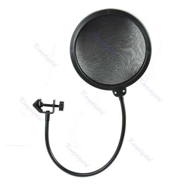Studio Microphone Double Layer Mic Wind Screen Pop Filter/ Swivel Mount / Mask Shied For Speaking Recording ,Gooseneck Black(China (Mainland))