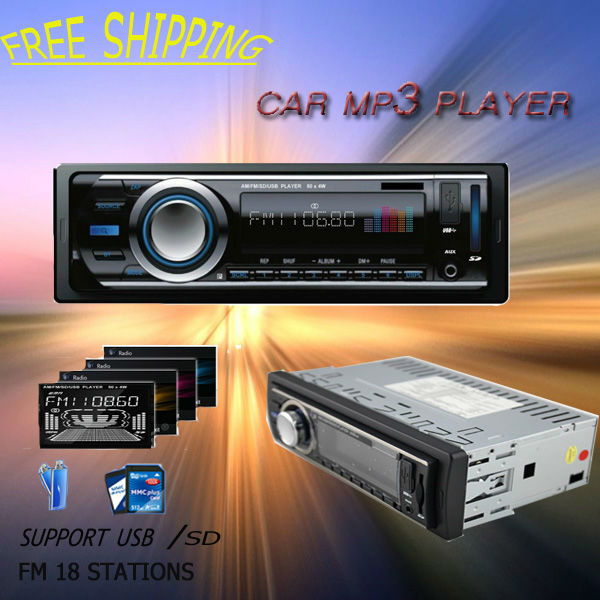 Free shipping promotion Factory price blue ray in dash car mp3 radio single din with ID3 FM Transmitter USB SD MMC Slot(China (Mainland))