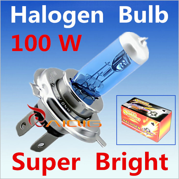 2pcs H4 100W 12V Halogen Bulb h4 super white Fog Lights High Power Car Headlights Lamp Car Light Source 6000K parking(China (Mainland))