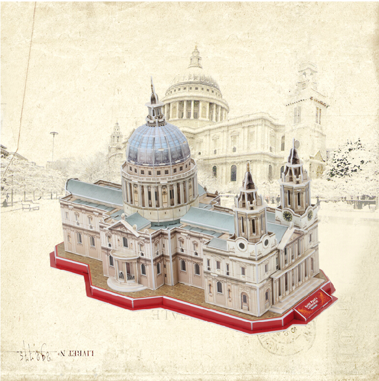 Promotion Gift Cubic Fun 3D Puzzle Toys St. Paul's Cathedral (UK) Model DIY Puzzle Toys For Children's Gift(China (Mainland))