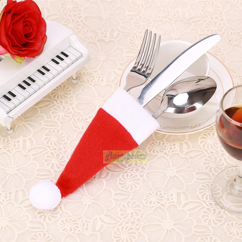 Funny christmas hat cap santa cutlery silverware holder - Tables de noel decoration ...