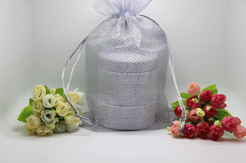 New arrival 100pcs/lot 19x29cm silver grey Mesh grid double-deck Organza Bags Jewelry Packing Gift Pouches(China (Mainland))