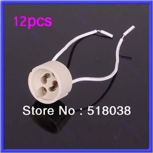 Drop Shipping 12pcs/lot GU10 Base Socket Lamp Holder Ceramic Wire Connector Promotion(China (Mainland))