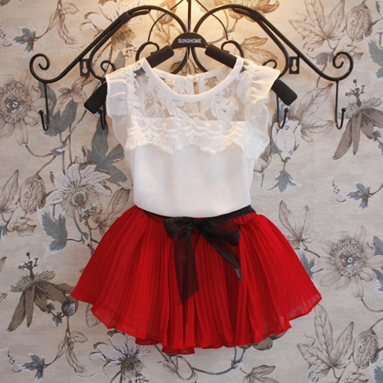 Гаджет  New 2014 girls clothing sets pleated lace stitching vest two-piece children casual conjunto kids clothes suit skirt 2~6age B284 None Детские товары
