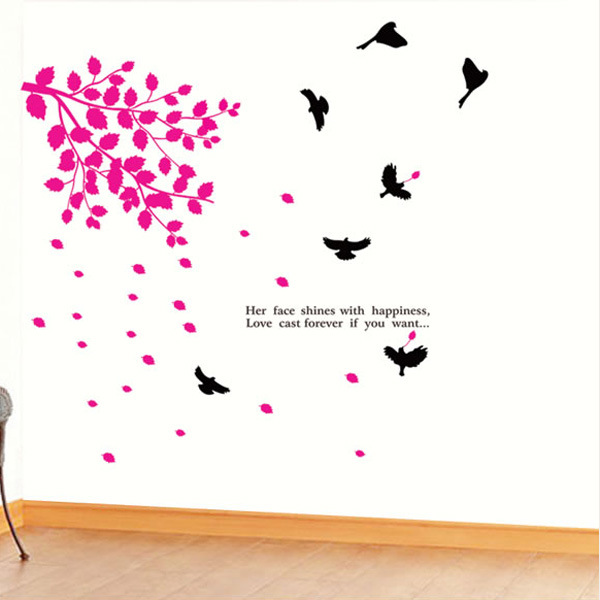 Removable Red Tree Leaves Bird Wall Vinyl Sticker Art Mural Decal Home Bedroom Nature 3D Decoration