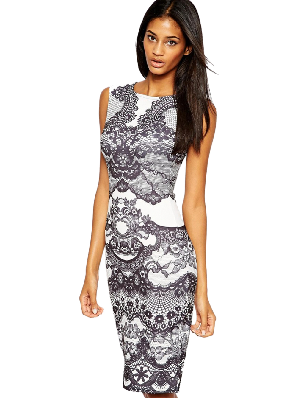 Floral Pattern Women Pencil Dress Sleeveless Elegant Bodycon Dress Lady Smart Casual Work Office Dress 2016 New Arrival(China (Mainland))