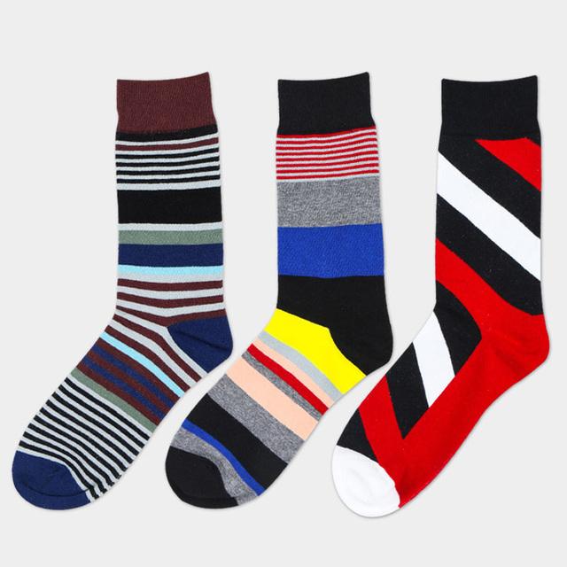 Мода господа Стеганый Жаккард линии хит цвет бизнес Отдых мужские носки красочные ...
