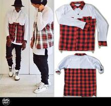 2016 Tyga Men Streetwear Shirts Side Golden Zipper Plaid Pockets Hip Hop Red White Flannel Shirt
