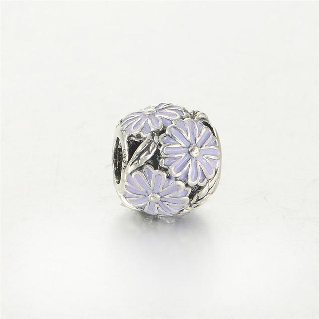 Чистый 925-Sterling-Silver ювелирные изделия ромашка бусины с лавандой эмалью устанавливается пандора браслет DIY женщины ювелирных изделий